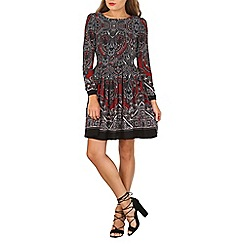 Tenki - Maroon paisley print shift dress