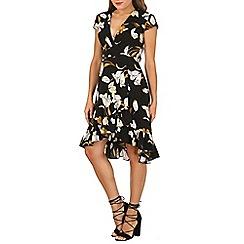 Tenki - Black v-neck flower print midi dress