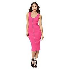 Jane Norman - Pink ottoman zip front dress