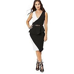 Jane Norman - Black asymmetric peplum dress