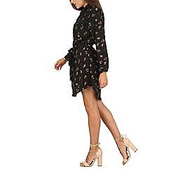 Mela - Black delicate rose print shirt dress