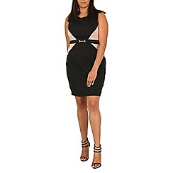 Samya - Black dual coloured belted bodycon dress