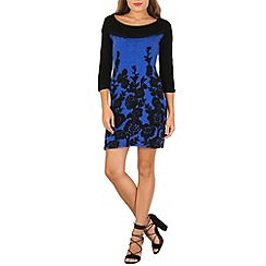 Stella Morgan - Blue long sleeve floral print contrast dress