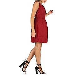 Mela - Maroon pleated skater dress