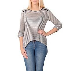 Izabel London - Grey striped zip detail top