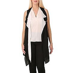 Izabel London - Black sleeveless plain cardigan