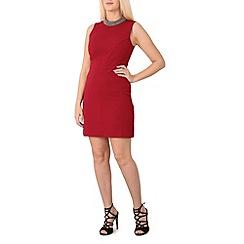 Izabel London - Wine gem neckline dress