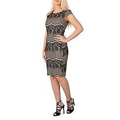 Izabel London - Beige cap sleeve lace midi dress