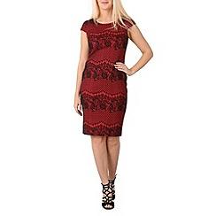 Izabel London - Red cap sleeve lace midi dress