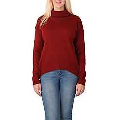 Izabel London - Wine long sleeve turtle neck knitted pullover