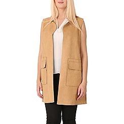 Izabel London - Tan sleeveless suede jacket