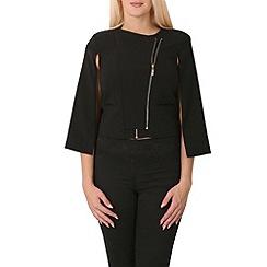 Izabel London - Black double zip cape jacket