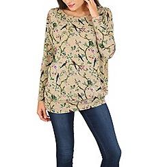 Izabel London - Light brown floral swallow print top