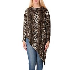 Izabel London - Brown leopard print asymmetric top