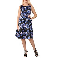 Izabel London - Blue butterfly and flower printed dress