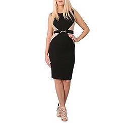 Izabel London - Black colour block belted bodycon dress
