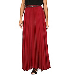 Jolie Moi - Dark red crepe pleated maxi skirt