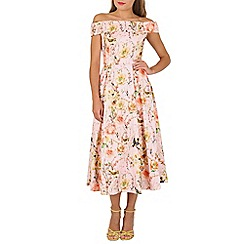 Jolie Moi - Pink floral print bardot neck midi dress