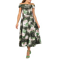 Jolie Moi - Dark green bardot neckline midi prom dress