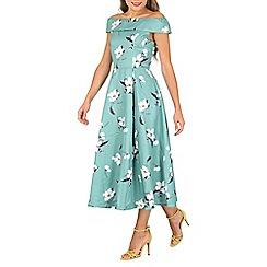 Jolie Moi - Turquoise floral print midi prom dress