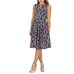 Jolie Moi - Navy floral wrap belt full dress