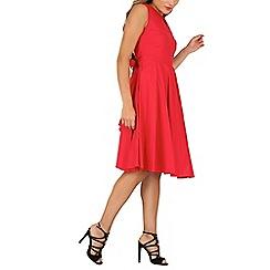 Jolie Moi - Red keyhole neckline full circle dress