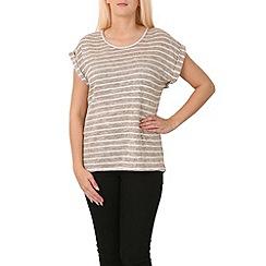 Izabel London - Beige horizontal stripe t-shirt