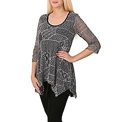 Izabel London - Grey multi-pattern net dress