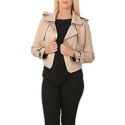 Izabel London - Beige trim detailing smart jacket