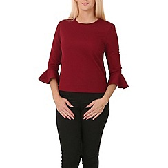 Izabel London - Dark red frill cuffs round neck top