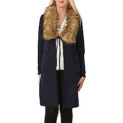 Izabel London - Navy faux fur collar cardigan
