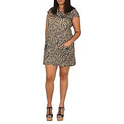 Samya - Beige aztec print button detail dress