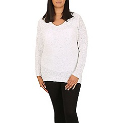 Samya - Cream v neck sparkling details pullover