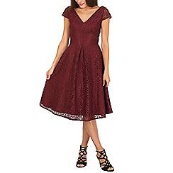 Jolie Moi - Dark red 50s cap sleeve midi lace dress