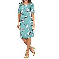 Jolie Moi - Green floral print ruched dress
