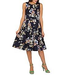 Jolie Moi - Navy floral print pleated 50s dress