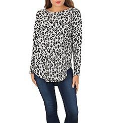 Voulez Vous - Black leopard print zip back top