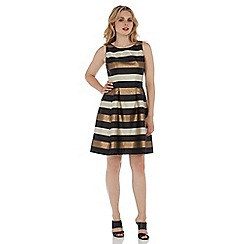 Roman Originals - Gold striped flared dress