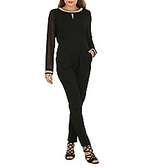 Mela - Black long sleeve embellished jumpsuit