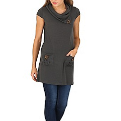 Izabel London - Grey rolled neck short sleeve top