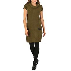 Izabel London - Khaki roll neck knit dress with zip details