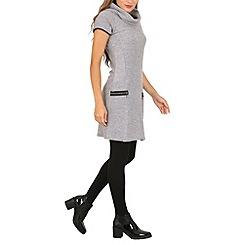 Izabel London - Grey roll neck knit dress with zip details