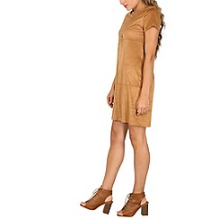 Izabel London - Camel short sleeve textured shift dress