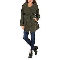 Izabel London - Khaki shawl collar jacket