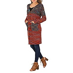 Izabel London - Red long sleeve contrast knit cardigan