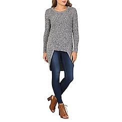 Izabel London - Light grey full sleeve long hem knitted pullover