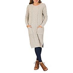 Izabel London - Taupe textured pocket knit pullover