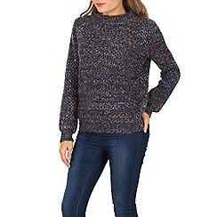 Izabel London - Navy long sleeve multi colour knit pullover