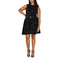 Samya - Navy floral belted skater dress