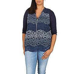 Samya - Blue lace detail zip top